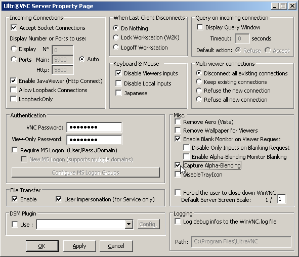 Ultra VNC and the invisible Office 2007 Office Button - 404