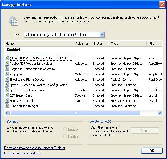 IE Browser Helper Objects, less than helpful.