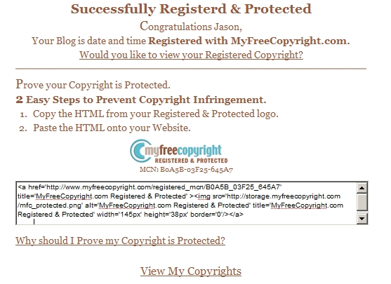 mfc101 MyFreeCopyright.com on Wordpress.com blogs