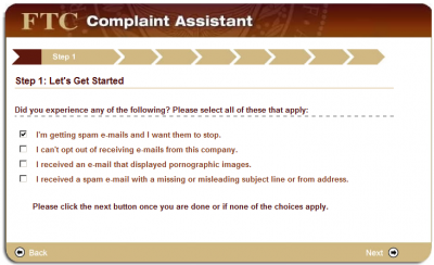 step1d 400x244 How to File a CAN SPAM Complaint with the FTC