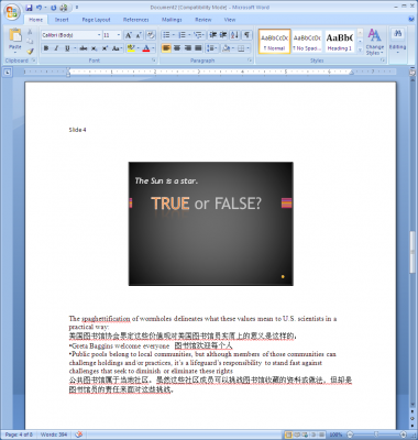 The notes inside of Word 2007
