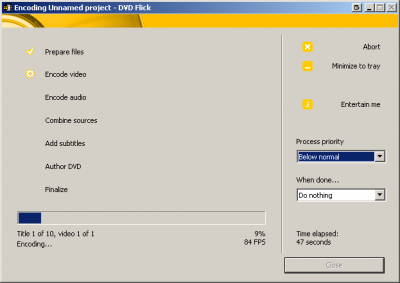 dvdflickprocessingjob 400x283 Avi2Dvd and DVD Flick   Converting Videos (.avi) to DVDs