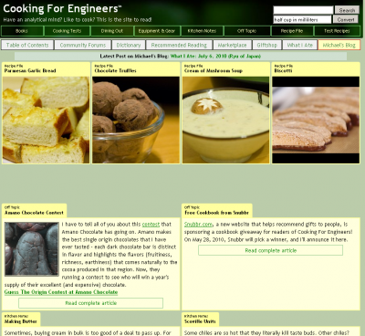 site 400x368 Cooking for Engineers   Recipes for the Analytically Minded