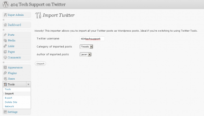 twitter importer 400x227 Use WordPress to Create a Searchable Archive of Your Tweets