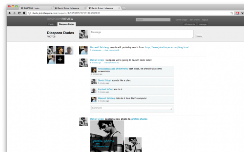 Diaspora screenshots 500x312 Diaspora, the Privacy Aware Social Network, Developer Release Hits The Web