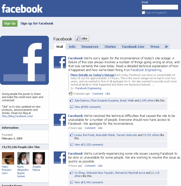 facebook outages today