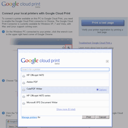 test page 500x503 Google Releases Google Cloud Print Beta To The Public