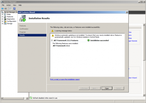 install success 500x353 Server 2008 R2: You must use the Role Management Tool to install or configure Microsoft .NET