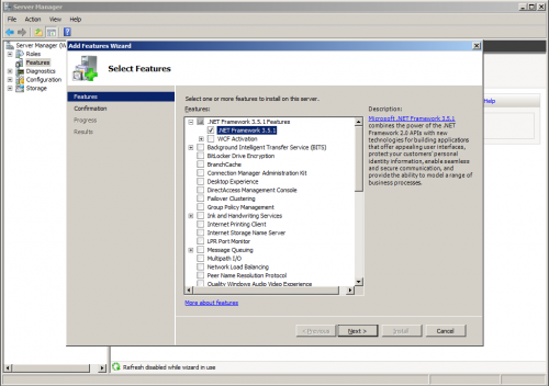 select features 500x352 Server 2008 R2: You must use the Role Management Tool to install or configure Microsoft .NET