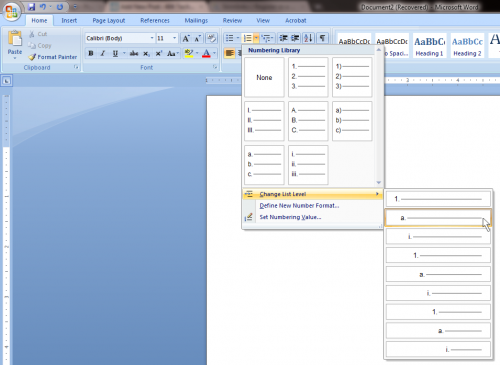 change list level 500x365 Tab Key Does Not Change List Level in Microsoft Word