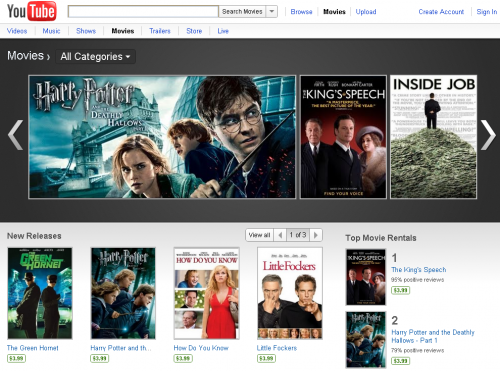 movies 500x371 Google Updates: YouTube Movie Rentals, Google Goggles for Business Cards, and Image Search Sort