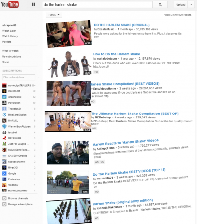 youtube harlem shake 400x453 A Few YouTube Easter Eggs