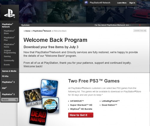 byJuly3 500x421 Sonys PSN Welcome Back Program Ended Today   Did You Get Your Free Games and PlayStation Plus Access?