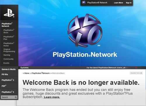 closed 500x364 Sonys PSN Welcome Back Program Ended Today   Did You Get Your Free Games and PlayStation Plus Access?