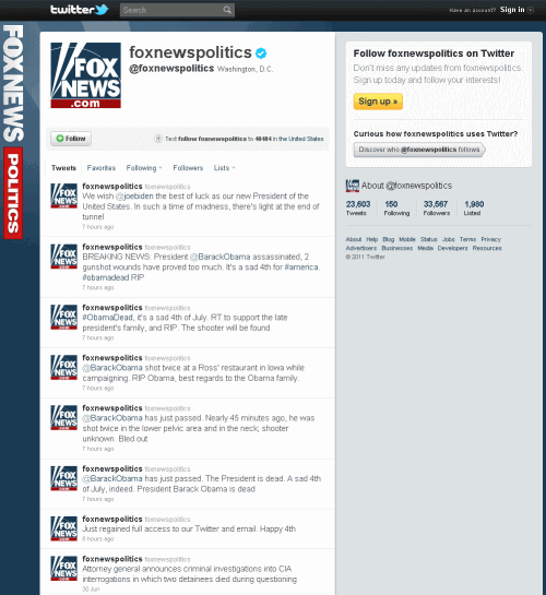 foxnews 500x545 Fox News Twitter Account Hacked   Falsely Announces Obama Assassinated