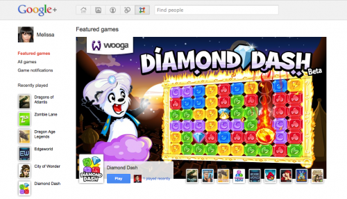diamond dash 500x286 Games Come To Google+