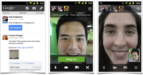 hangoutsonyourphone2 500x265 Google+ Moves To Public Beta and Announces Upcoming Features