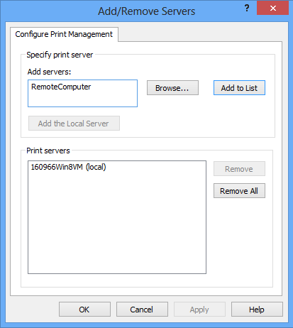 addremove svrscreen How to View Remote Printers in Windows 8