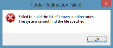 move error Windows 8 and problems with a redirected My Documents folder