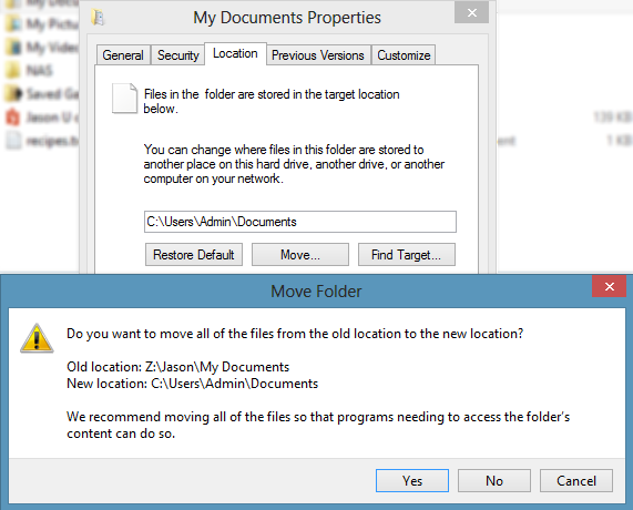move mydocs Windows 8 and problems with a redirected My Documents folder