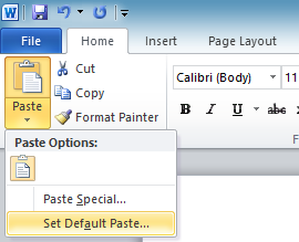 Set default paste in Word 2010