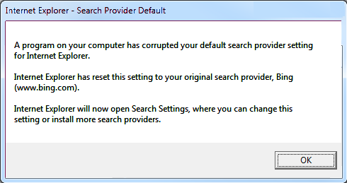 error Internet Explorer: A program on your computer has corrupted your default search provider setting.