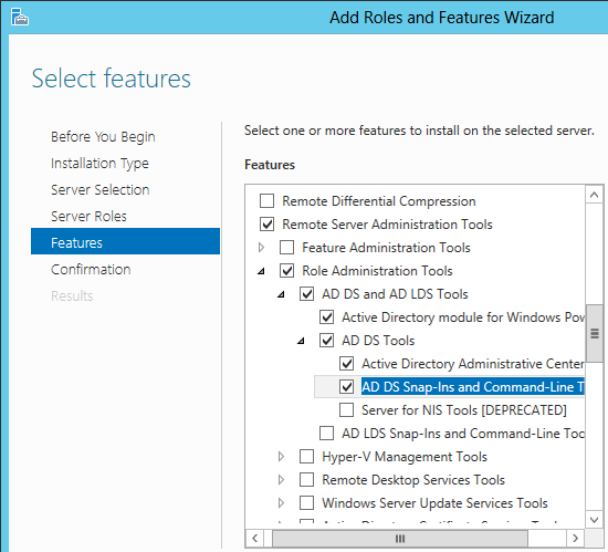 add ad ds snapins feature server 2012