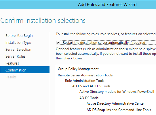 add ad gpmc server 2012 features confirmation