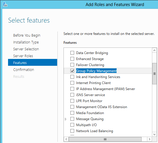 add group policy management feature server 2012