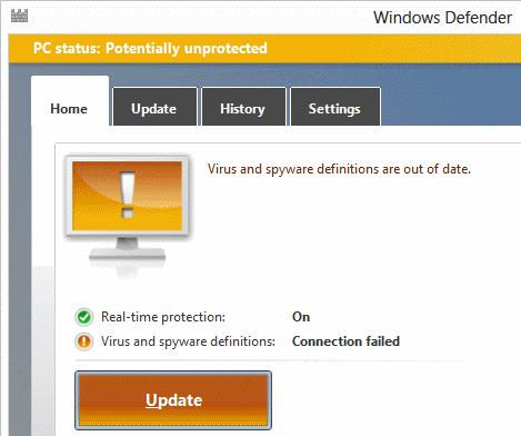 Windows Defender connection failed