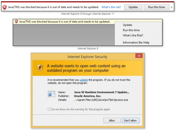 Internet Explorer will block out-of-date Java and other ...