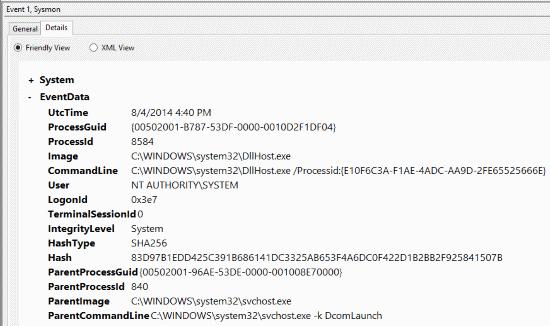 sysmon event log