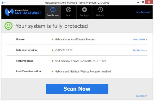 malwarebytes premium malware protection disabled