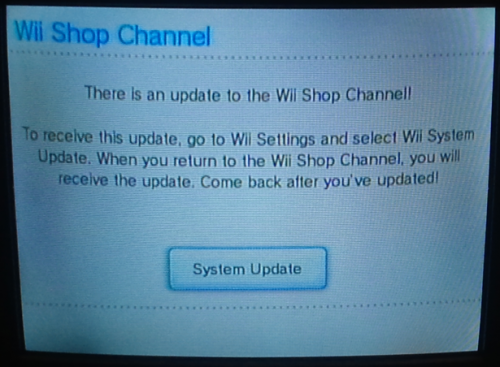 System Update prompt
