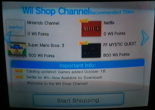 Wii Shop channel recommended
