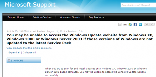 how to stop windows update service in xp