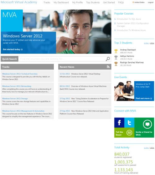 Microsoft Virtual Academy site