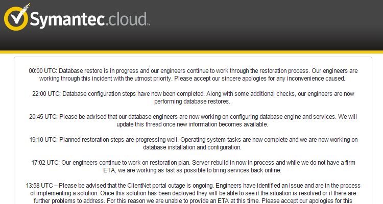 symantec cloud portal suffers all day outage 404 tech support